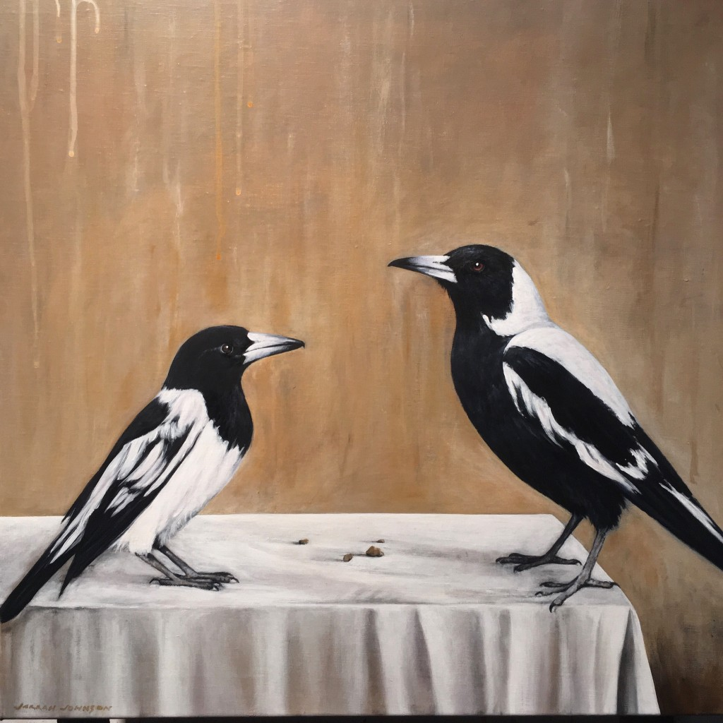 The Dinner Guests, acrylic on linen, 61x61cm SOLD